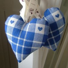 Pretty Blue Woven Check Fabric Heart Decoration / Keepsake / Door Hanger