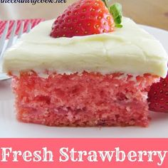 Fresh Strawberry Cake @keyingredient #cake #cheese