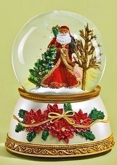 Christmas Snow Globe - Woodland Santa Musical Snowglobe on Poinsettia Base - Santa Waterglobe - Water Globe