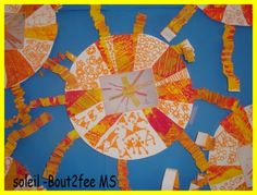 Un soleil en moyenne section. J'avais pris en photo le soleil en manipulation : Soleil 2 J'ai ensuite collé chaque photo sur un grand rond de canson. Les enfants avaient fait une peinture dans les tons jaune et orange. Sur une moitié de feuille , j'ai...