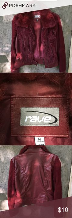 RAVE  jacket in suede, yarn and imitation fur Burgundy Color - in great shape -Great looking coat x jeans or to dress-up • QUESTIONS WELCOME RAVE Jackets & Coats
