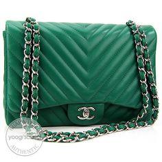 7076cd6979c0 Chanel Green Quilted Lambskin Chevron Jumbo Classic Flap Bag. Green Handbag,  Green Bag,