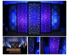 These are just frames to look like stained glass  Google Image Result for http://www.churchstagedesignideas.com/wp-content/uploads/2010/05/collage.jpg