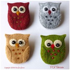 Owl Brooch Pin PDF Pattern and Tutorial Instant by SewJuneJones
