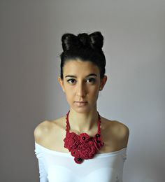 Hand Crochet Necklace (LUX) - Ruby Red, Blood Red - Handmade - Floral motif - Feminine   This is my new design. Lovely, feminine, and amazing - these handknit crochet necklaces make a great addition to you Spring\/Summer style!  This is an unusual and creative piece, made to take the difference, to wear beaty. Elegant, refined, different.