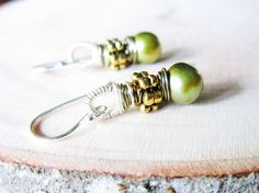 Peridot Green Pearl Earrings wire wrapped by thelittlehappygoose, $25.00