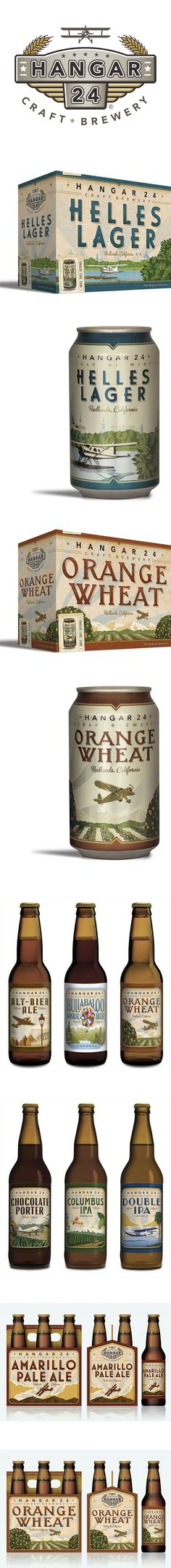 Hangar 24 Craft Brewery *** Hangar 24 Craft Brewery is located right next to a municipal airport and is surrounded by acres of orange groves in Redlands, California — it's also owned by a private pilot who has a passion for vintage airplanes. Beer Packaging, Beverage Packaging, Brand Packaging, Label Design, Package Design, Redlands California, Brand Identity, Branding, Aviation Decor
