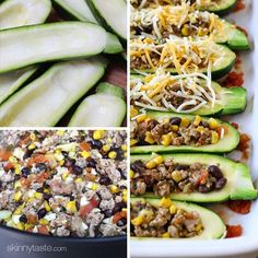 Turkey Santa Fe Zucchini Boats... serves 5, make ahead or freezable, clean, low-cal, beautiful! | Skinnytaste