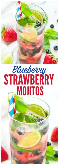 Strawberry Mojito recipe with Blueberries — Perfect for any cocktail party and red, White and Blue for the Fourth of July or Memorial Day! Refreshing, fun, and so tasty. Recipe at www.wellplated.com @wellplated