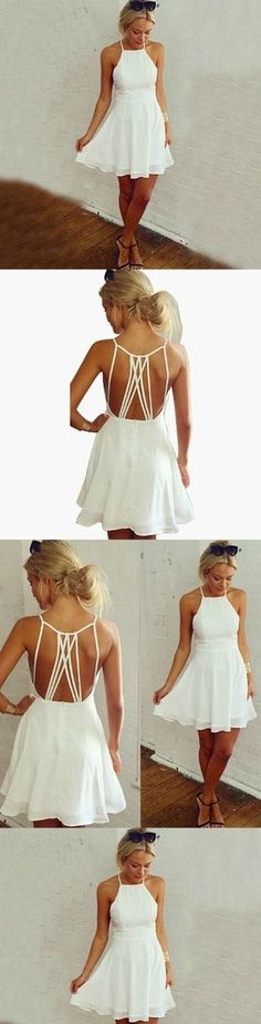 White Homecoming Dress,Short Party Dress,Backless Formal Dress,Short Prom Dress