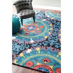 nuLOOM Handmade Suzani Wool Multi Rug (4' x 6')