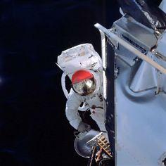 March 6, 1969: Apollo 9 lunar module pilot Russel L. Schweickart performs a 37 min EVA. | Photo credit: NASA