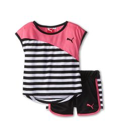 PUMA Little Girls' Black Stripe Short. Cute Little Girls Outfits, Boy Outfits, Toddler Fashion, Kids Fashion, Twin Baby Clothes, Puma Outfit, African Dresses For Kids, Girls Pajamas, Baby Dress