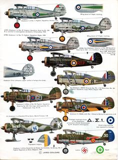 1937-1953 Gloster Gladiator. Fighter. RAF, FAA, CNAF, FAF, NAAS. Engine: 1 x Bristol Mercury IX radial engine (830 hp) Armament: 2 x Sync' .303 Vickers machine guns (fuselage), 2 x .303 Lewis machine guns (lower wing) Max speed: 253 mph (407 km/h)