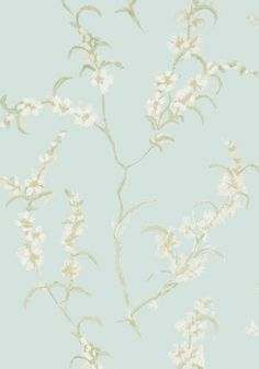 Japonica #wallpaper in #aqua from the Anna French Lyric collection. #Thibaut (see in pearl colorway)