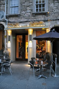 Angels with Bagpipes, cool name for a swank little restaurant in old town #Edinburgh.  www.leahmariebrown.net