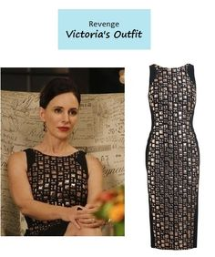 "On the blog - Sneak Peek of Next Week's Episode: Victoria Grayson's (Madeleine Stowe) geometric jacquard sheath dress | Revenge - ""Mercy"" (Ep. 304) #tvstyle #falltv #outfits #fashion #tvfashion #revengers"