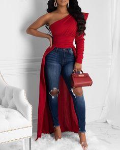 chicme / Solid One Shoulder Dip Hem Blouse Undercut Designs, Undercut Pixie, Trend Fashion, Style Fashion, Womens Fashion Online, Black Women Fashion, Pattern Fashion, African Fashion, Korea Fashion