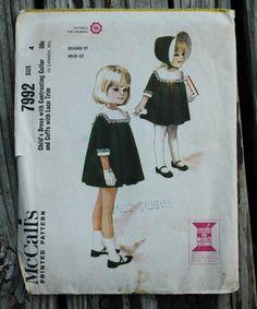 McCall 7992 1960s 60s Girls Full Skirt Dress by EleanorMeriwether