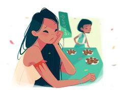 """Pocahontas Vida de mãe: Pocahontas é a líder do grupo de escoteiras de sua filha e ama levar as meninas para fazerem caminhadas na natureza para que elas vejam """"as cores do vento"""". Entretanto, ela não gosta de ter que tentar vender biscoitos na frente do mercado."""