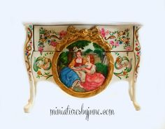 miniaturesbyjune.com oil painting on 1 inch scale dollhouse commode