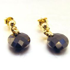 "Earrings plated gold ""Linda"" black. Les Tresors de Lily. $29.00"