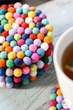 DIY Wool Felt Ball Coasters