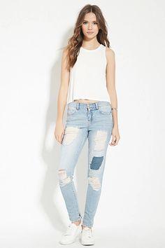 Contemporary Distressed Jeans #f21denim