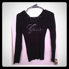"Sweater Guess sweater with ""Guess"" written in rhinestones on front and lace tie up  strings down the back Guess Sweaters"