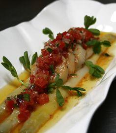 White Asparagus & Seared  Scallops in Tomato-Tarragon Vinaigrette