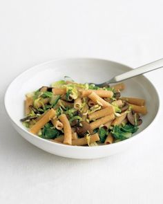 Quick and healthy: Whole-wheat pasta stands up to the assertive flavors of brussels sprouts and cremini mushrooms, and a little lemon zest brings it all together.