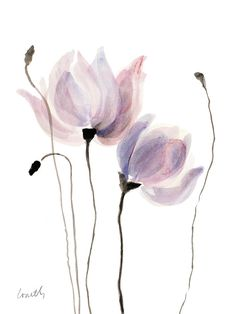 Floral Painting - Floral Sway I by Lanie Loreth Abstract Watercolor Art, Watercolor Illustration, Watercolor Flowers, Watercolor Paintings, Watercolour, Line Art Flowers, Flower Art, Wall Art Prints, Poster Prints
