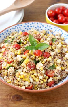 Caprese Quinoa Salad with Sweet Corn Recipe from A Kitchen Addiction @akitchenaddict