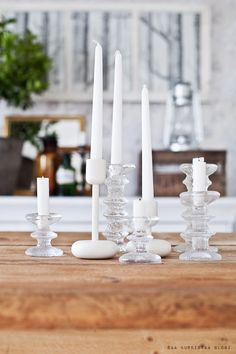Iittala - white, clear and frosted Romantic Candles, Vintage Candles, White Candles, Chandelier Bougie, Chandeliers, Scandinavian Living, Scandinavian Design, Beautiful Christmas, White Christmas