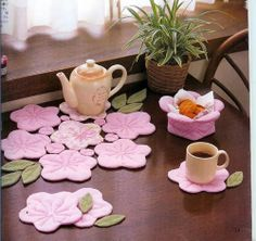 Cherry blossom coasters. I love these, wish there was a tutorial
