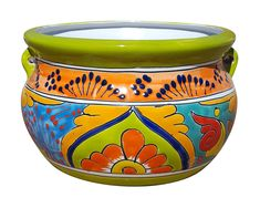 Mexican Talavera pottery is some of the most ornate, decorative pottery in the world, featuring bright colors, stunning designs and intricate patterns. Garden Fence Art, Garden Planter Boxes, Garden Table, Glass Garden, Painted Clay Pots, Painted Flower Pots, Glazed Ceramic Tile, Pottery Painting Designs, Vase Crafts