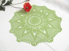 Light Green Flower Crochet Lace Doily, Modern Table Topper,  New Home Decor, Hand Crocheted Items