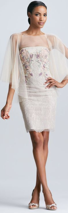 Bagley Mischka Tulle Cape Strapless Embroidered Cocktail Dress