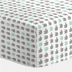 Boy Baby Bedding / Girl Baby Bedding / Neutral Baby Bedding : Gray and Mint Elephant Parade Crib Sheet by Carousel Designs Elephant Crib Bedding, Elephant Themed Nursery, Crib Bedding Boy, Crib Sheets, Elephant Room, Owl Nursery, Grey Elephant, Comforter, Bedding Sets
