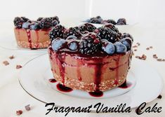 Raw Dark Chocolate Black and Blueberry Mousse Cakes from Fragrant Vanilla Cake paleo dessert mousse