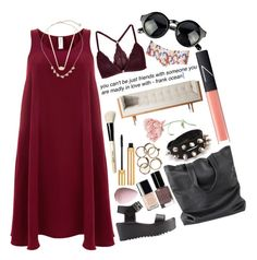 """""""Randomly Cranberry"""" by weirdestgirlever ❤ liked on Polyvore featuring Finery London, Charlotte Russe, Topshop, NARS Cosmetics, Bobbi Brown Cosmetics, Chanel, Yves Saint Laurent, Kendra Scott, Flamant and rileylpcranberry"""