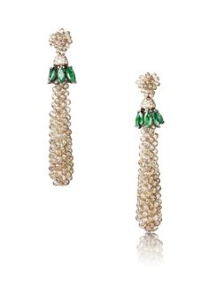 The de GRISOGONO earrings worn by Amber Heard in Cannes, featuring 16 marquise emeralds, 291 brown briolette diamonds, 70 white diamonds, 32 brown diamonds and 26 emeralds.