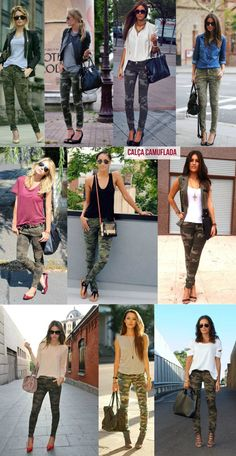 Camo Jeans Outfit, Cargo Pants Outfit, Jeans Outfit Summer, Camo Outfits, Legging Outfits, Mode Outfits, Summer Outfits, Camo Pants, Green Pants Outfit