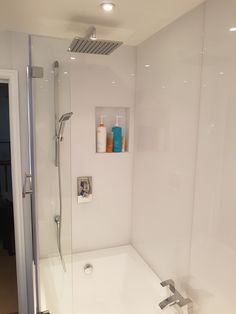 Double shower in the white bathroom