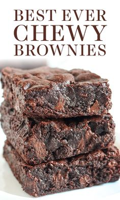 The BEST Chewy Brownies are just as fudgey as the boxed brownies but packed with way more from-scratch chocolate flavor. Easy, homemade one bowl recipe made in less than 1 hour! Best Ever Chewy Brownies Beste Brownies, Boxed Brownies, Easy Brownies, Brownies From Scratch, One Bowl Brownies, Baking Brownies, Black Bean Brownies, Healthy Brownies, How To Bake Brownies