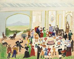Artwork by Grandma Moses, Birthday Cake, Made of oil and tempera on board - kira Grandma Birthday Cakes, Grandma Moses, Naive Art, Art Party, Teaching Art, American Artists, Art Lessons, Art History, Folk Art