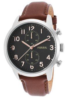 Fossil Men's Townsman Chronograph Brown Genuine Leather Black Dial - Watch FS4873,    #Fossil,    #FS4873,    #WatchesCasualQuartz