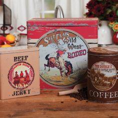 vintage western cowboy canister set