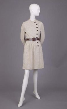 Cream Knit Dress Of Cream With Brown Herringbone Pattern and Brown Leather Belt - The Goldstein Museum of Design
