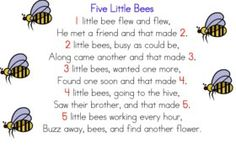 Five Little Bees Counting Rhyme